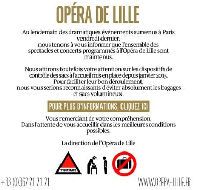 Communication de l'Opera de Lille après les attentats de Paris