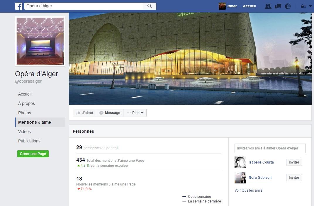 Facebook de l'Opera d'Alger