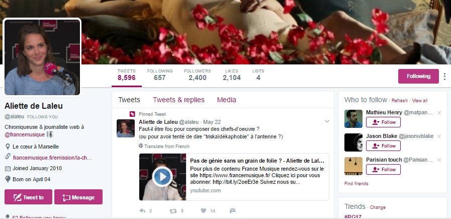 Le compte Twitte d'Aliette de Laleu