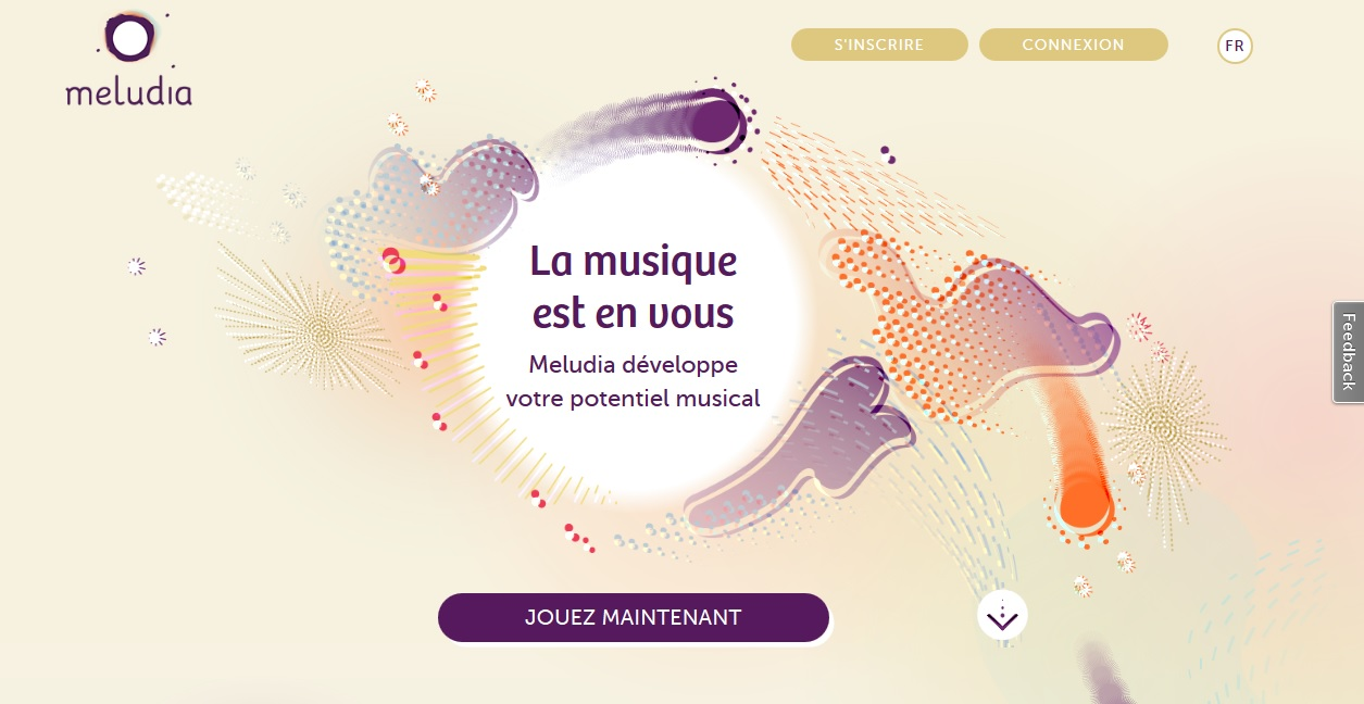 Page d'accueil du site d'apprentissage musical meludia